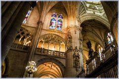Burgos Cathedral, Spain. Interior of Burgos Cathedral, stained glass windows Royalty Free Stock Image
