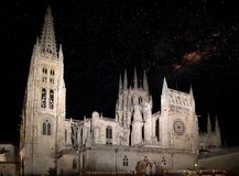 Burgos Cathedral with starry sky stock photography