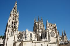 Burgos Cathedral view. Exterior View of Burgos Cathedral, Burgos, Castilla Leon, Spain Royalty Free Stock Images