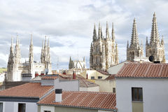 Burgos Cathedral. View between the roofs of the Burgos Cathedral is a Gothic-style Roman Catholic cathedral in Burgos, Spain Stock Photo