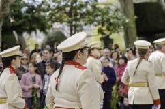 Burgos, Espagne - 29 mars 2015 : Les musiciens jouent la trompette dans la paume dimanche de cortège Photographie stock