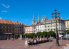 Burgos katedra i placu Mayor Fotografia Royalty Free