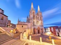Burgos katedra w wieczór świetle Zdjęcie Stock