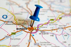 Burgos on map. Close up shot of Burgos on map with blue push pin Stock Photography