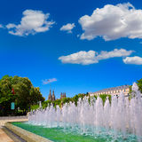 Burgos San Pablo bridge fountain and Cathedral Royalty Free Stock Photography