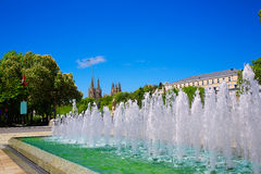 Burgos San Pablo bridge fountain and Cathedral Stock Images