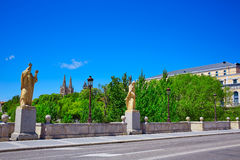 Burgos San Pablo bridge Statues on Arlanzon river Royalty Free Stock Photography