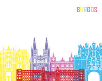 Burgos skyline pop. In editable vector file Stock Image