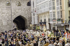 Burgos, Spain - March 29, 2015:People looking the procession in the Square Rey San Fernando. People looking the procession in the Square Rey San Fernando stock images