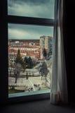 Burgos. A view through a window of downtown Burgos, Spain Stock Photos