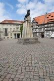 Burgplatz in Braunschweig. Burgplatz (Castle Square) and lion statue, heraldic animal of Braunschweig, Germany stock image