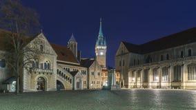 Burgplatz in Braunschweig bij avond Royalty-vrije Stock Afbeeldingen