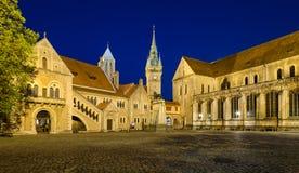 Burgplatz fyrkant i Braunschweig, Tyskland royaltyfria bilder