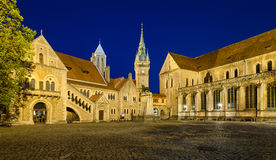 Burgplatz square in Braunschweig, Germany. At night Royalty Free Stock Images