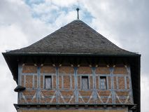 Burgrave`s House on Karlstejn Castle in Bohemia, Czech Republic. Burgrave`s House, a medieval half-timbered building on Gothic Karlstejn Castle in Bohemia, Czech royalty free stock image