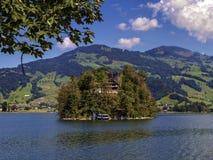 Burgruine castle on Schwanau island in lake Lauerz Royalty Free Stock Photo
