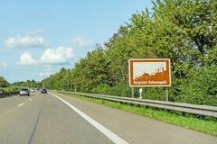 Burgruine Hohennagold, znak, Autobahn, Niemcy obraz stock