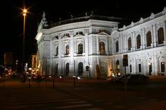 Burgtheater in Wenen, nachtscènes Stock Afbeelding
