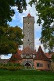 Burgtor, eins der Schloss-Tore in Rothenburg-ob der Tauber Stockfotografie