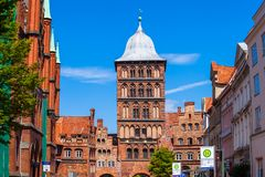 Burgtor Gate in Lubeck, Germany stock photography