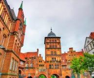 Burgtor północna brama Lubeck, Niemcy zdjęcia royalty free