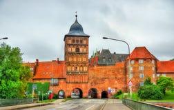 Burgtor północna brama Lubeck, Niemcy zdjęcia stock