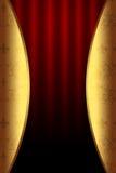 Burgundertheaterhintergrund mit goldenen Elementen Stockbild