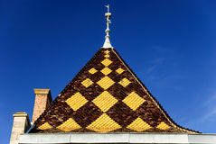 Burgundian tile - roof of the palace in the architectural style of Burgundy, region Beaujolais, France Stock Photography