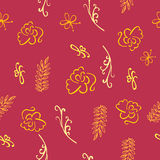 Burgundy άνευ ραφής floral σχέδιο - απεικόνιση Στοκ εικόνα με δικαίωμα ελεύθερης χρήσης