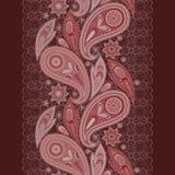 Burgundy δαντελλών υπόβαθρο, Paisley και λουλούδια Κάθετο άνευ ραφής σχέδιο Στοκ Φωτογραφία