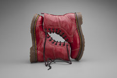 Burgundy Boots. Burgundy colored boots still life photo Royalty Free Stock Images