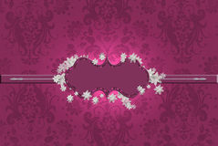 Burgundy border on brocade Royalty Free Stock Images