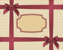 Burgundy bows on textured background Royalty Free Stock Photos
