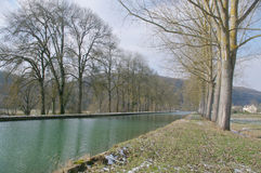 Burgundy Canal in winter Stock Images