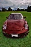 Burgundy car. A burgundy color car on the meadow Stock Images