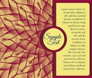 Burgundy card with floral pattern Stock Photography