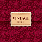 Burgundy card with vintage flower bouquets Royalty Free Stock Photos