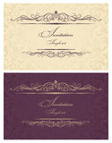 burgundy cards guldinbjudan Royaltyfri Foto