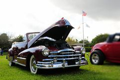 Burgundy classic convertible car Stock Image