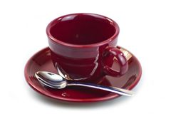 Burgundy Coffee Cup Stock Photo