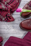 Burgundy color. Stylish shoes, clothes and tulips Stock Photography