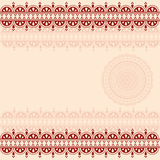 Burgundy and cream oriental henna mandala background Royalty Free Stock Image