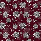 Burgundy floral repeat background. hand painted seamless pattern with chrisantemum on bold deep red color. Botanical illustration in sketch engraving style for royalty free stock photos