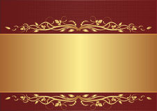 Burgundy and gold background. With floral ornaments Royalty Free Stock Photo