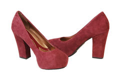 Burgundy high heels. Royalty Free Stock Photo