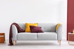 Burgundy koc w eleganckim żywym izbowym wnętrzu z kopii przestrzenią dalej i poduszka obraz stock