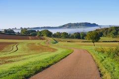 Burgundy landscape in morning mist Stock Photo