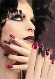 Burgundy manicure. Royalty Free Stock Photo