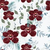 Burgundy orchid, herbs, berries, palm leaves and greenery seamless pattern. stock illustration