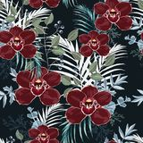 Burgundy orchid, herbs, berries, palm leaves and greenery seamless pattern. vector illustration